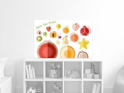 Mama Love Print Printable -  生果篇早教掛牆圖 Fruits Poster Free Download Freebies Printable