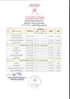 جدول اختبارات دبلوم التعليم العام الفصل الثاني 2016-2017 سلطنة عمان