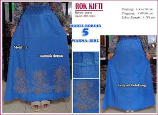 Rok jeans dengan hiasan bordir cantik - kifti model 5 motif 3