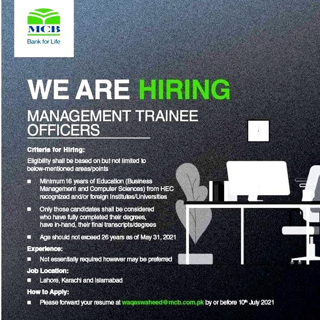 MCB Bank Management Trainee Officers Program July  2021