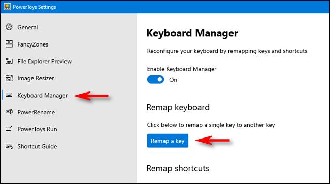 """انقر فوق """"مدير لوحة المفاتيح"""" في الشريط الجانبي ، ثم انقر فوق """"إعادة تعيين مفتاح""""."""