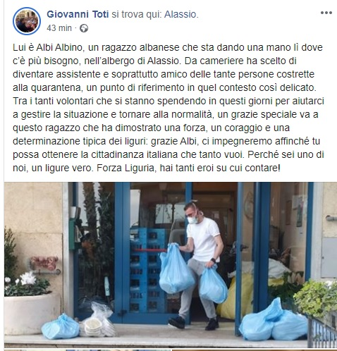 Albanian waiter becomes a volunteer serving the elderly infected with coronavirus in Italy