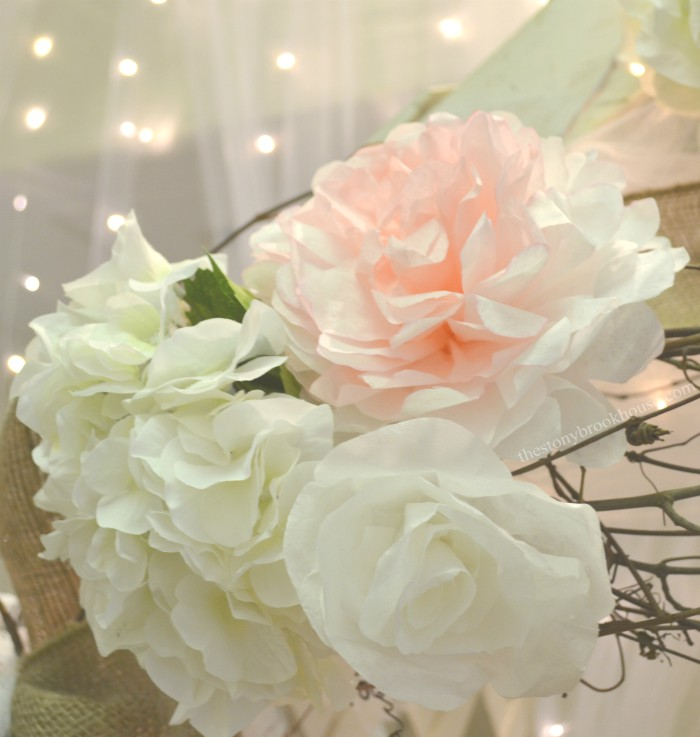 Coffee Filter Peony mixed with other flowers