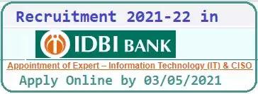 Expert Level IT Jobs in IDBI Bank 2021
