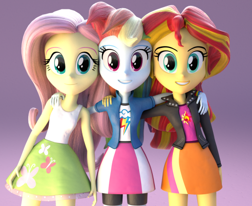 Fluttershy, Rainbow and Sunset Shimmer