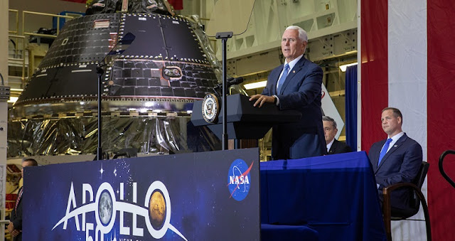 Vice President Mike Pence visited NASA's Kennedy Space Center in Florida on July 20, 2019, to commemorate the 50th anniversary of the agency's Apollo 11 Moon landing. He joined Administrator Jim Bridenstine and other dignitaries to announce the completion of NASA's Orion crew capsule for the first Artemis lunar mission. Credits: NASA