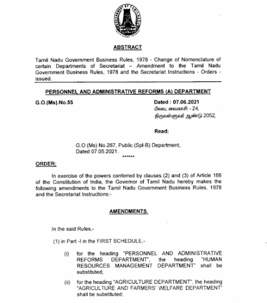 G.O Ms. No. 55 DT 07.06.2021 - DEPARTMENT NAME CHANGE