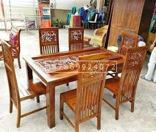 meja makan kayu jati ukiran klasik 6 kursi asli Jepara