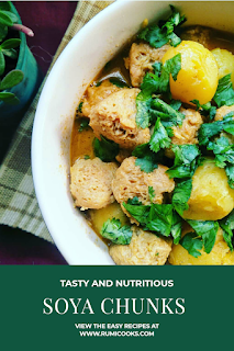 Baby potatoes and soya chunks curry   Baby potatoes and soya chunks is a good recipe for vegetarians.  Soya chunks is a good alternative of meat