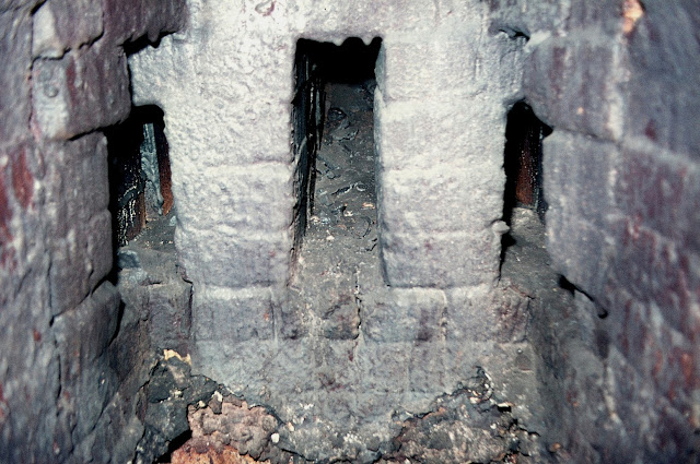 Bottle oven flues Falcon Pottery, Sturgess Street, Stoke Photo: Terry Woolliscroft   Date: May 1976 taken as part of Bottle Oven Surve