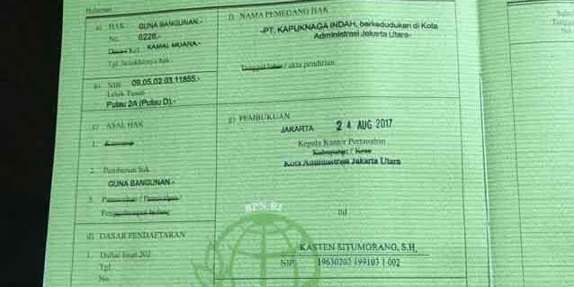 Pemberian Sertifikat HGB Pulau D Reklamasi Bentuk Rusaknya Penegakan Hukum Indonesia