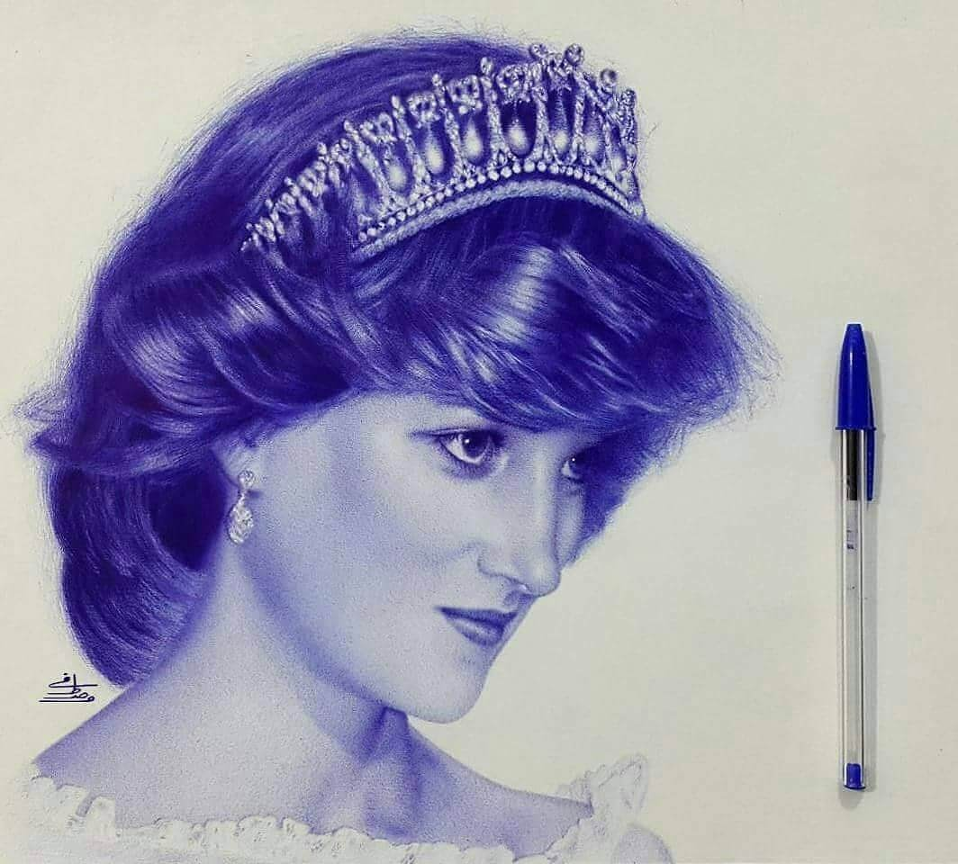 12-Princess-Diana-Mostafa-Khodeir-Celebrities-and-Non-Ballpoint-Pen-Portraits-www-designstack-co