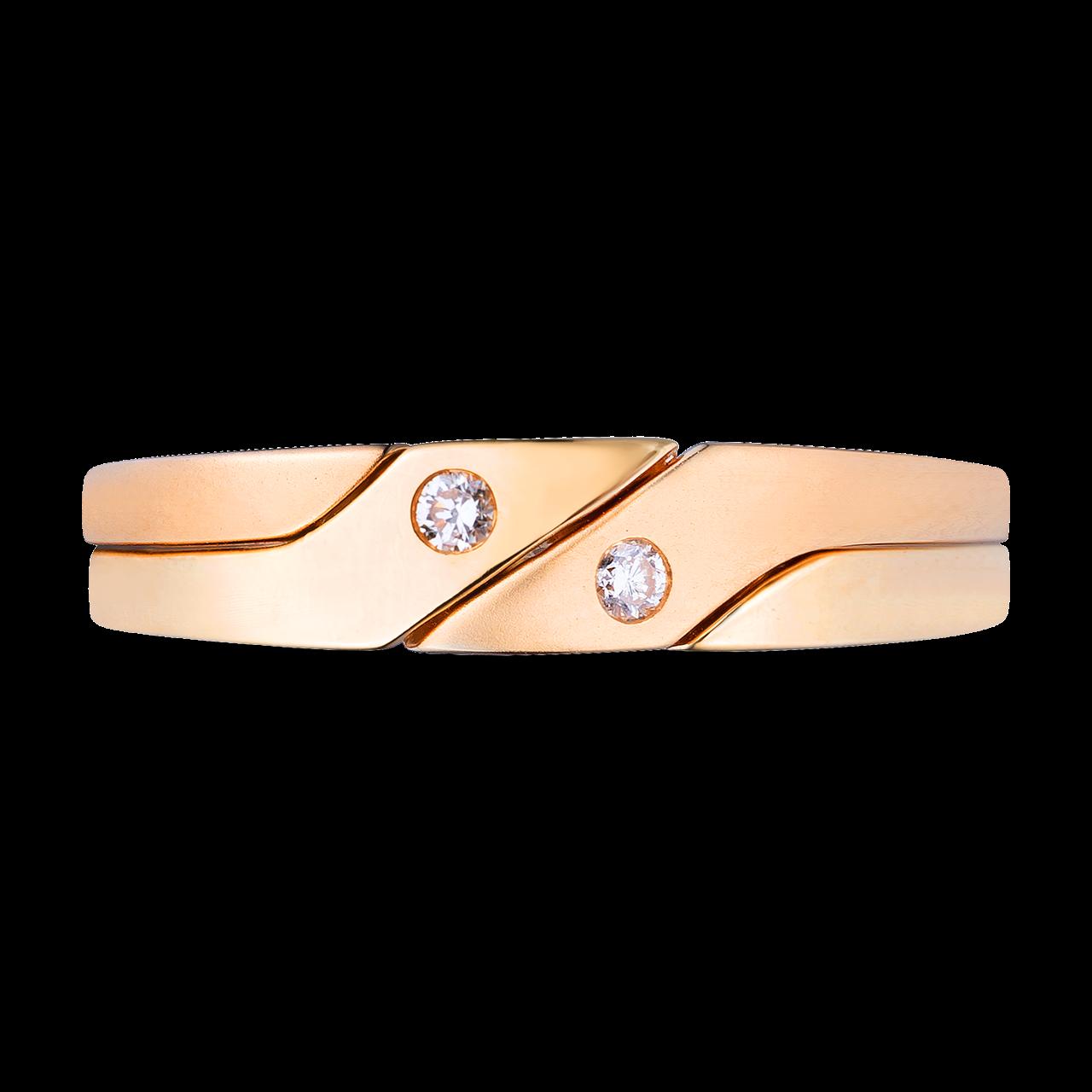 Nhẫn cưới Kim cương Vàng 18K PNJ Chung Đôi DD00Y000508