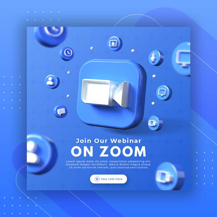 Webinar Page Promotion With 3D Render Zoom Logo Instagram Post Template