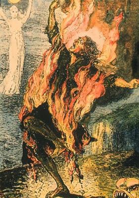 Illustrazione della persona che brucia spontaneamente