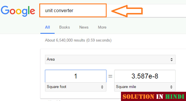 google unit converter