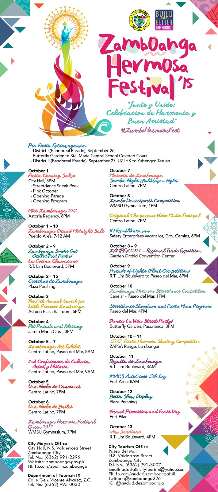 Zamboanga Hermosa Festival 2015 Calendar of Activities