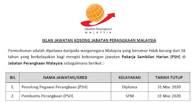 jawatan kosong jabatan perangkaan malaysia 2020
