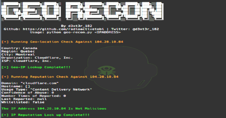 Geo-Recon : An OSINT CLI Tool Desgined To Fast Track IP Reputation