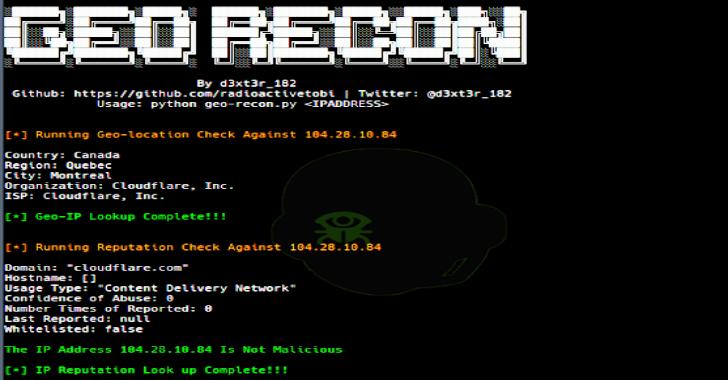 Geo-Recon : An OSINT CLI Tool Desgined To Fast Track IP Reputation