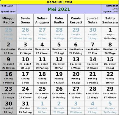kalender mei 2021 lengkap jawa hijriyah