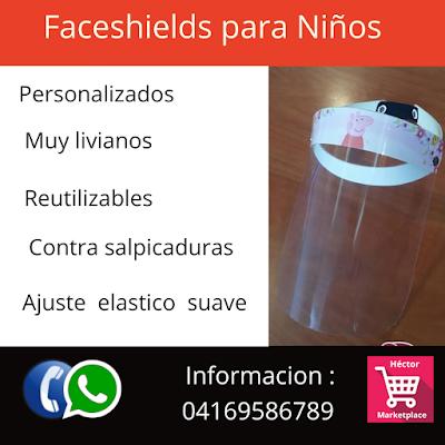 Venta de Faceshields Protectores Faciales para Niños contra Coronavirus