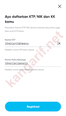 input nomor ktp dan kk
