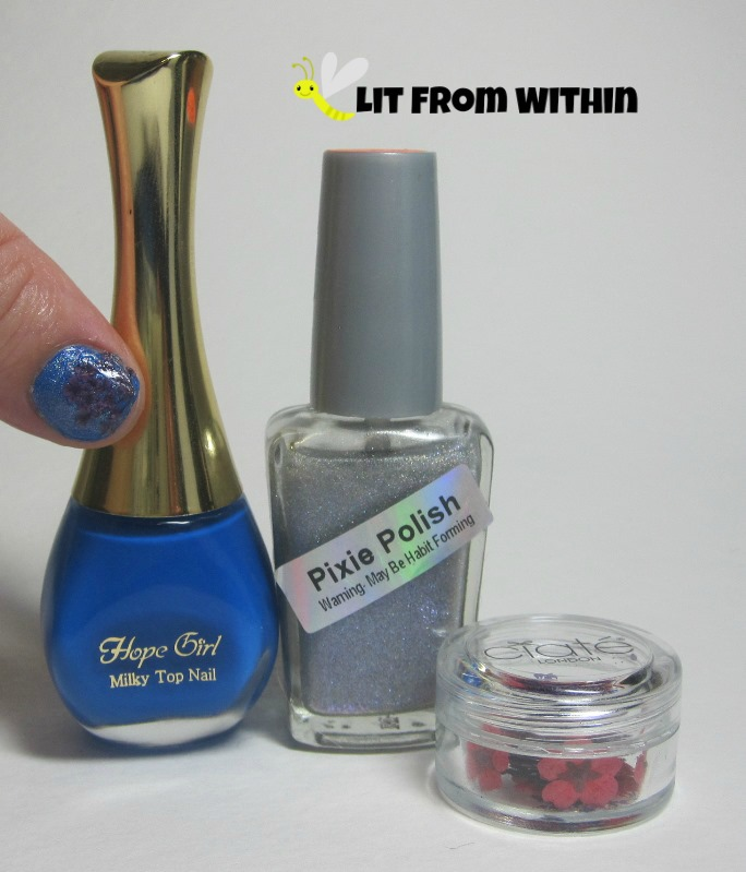 Bottle shot:  Hope Girl BL03, and Pixie Polish Disco Peacock (and some dried flowers.)
