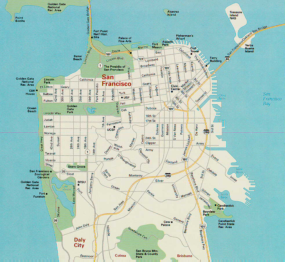 It's just a picture of Versatile Printable Maps of San Francisco