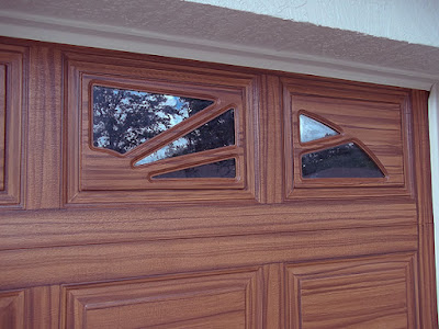 detail of wood painted garage door