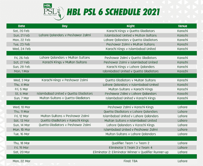 PSL 2021 Schedule 2021