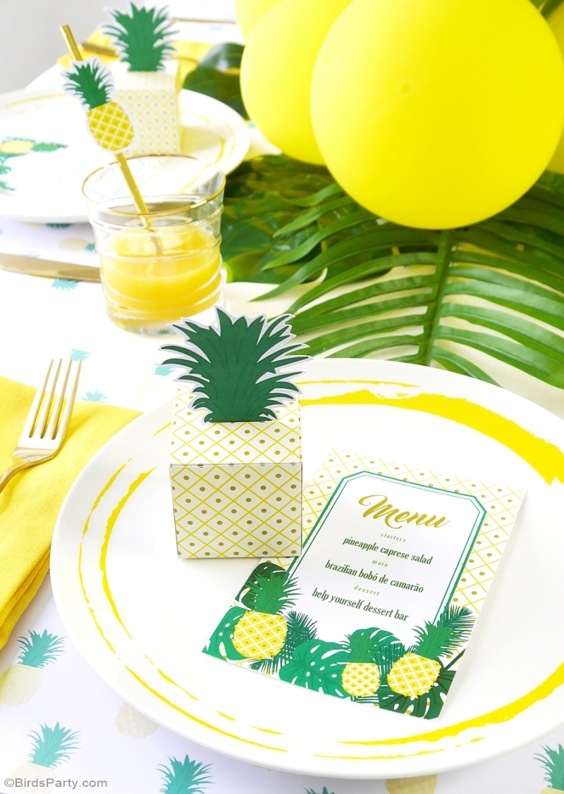 Party Like a Pineapple Birthday Dinner Tablescape & Place Setting Ideas - BirdsParty.com