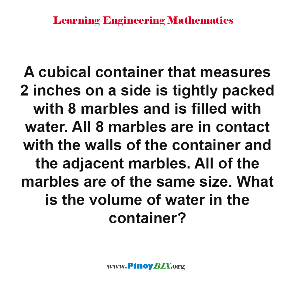 What is the volume of water in a cubical container?
