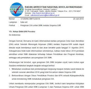 Pengisian DIA untuk SMK melalui Sispena-S/M 2018