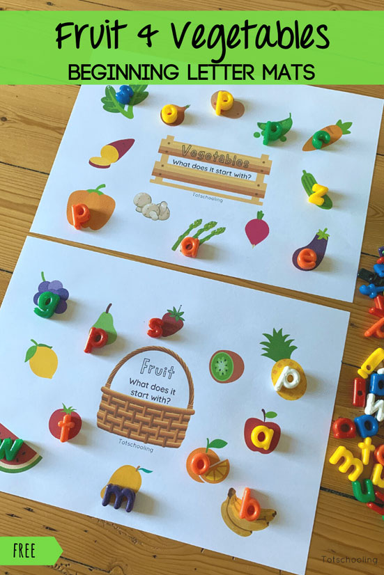 FREE printable activity for pre-k and kindergarten kids who are learning letter sounds. Also great for a food-theme or fruit & veggie theme!