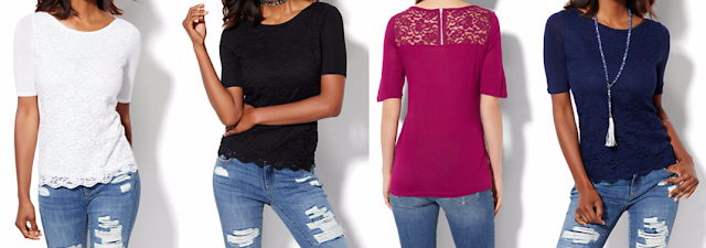 Lace Overlay Boatneck Tee $8-$16 (reg $40)
