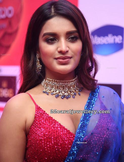 Nidhi Agerwal in Flat Diamond Choker