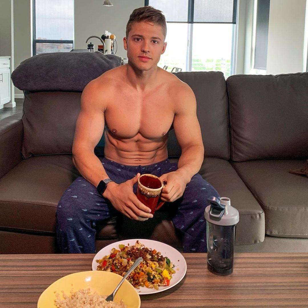 cute-shirtless-frat-boy-next-door-pajamas-lunch-at-home-