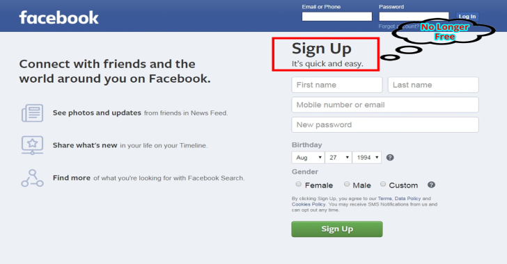 Facebook Quietly Changed Its Homepage Slogan, So Is It Still Free?