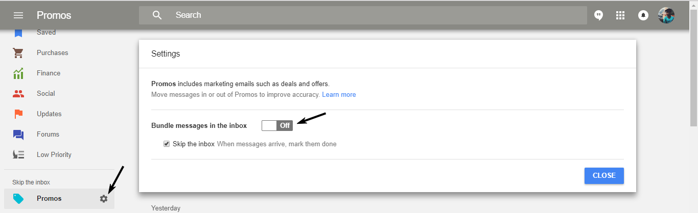 avoid seeing promotional emails in gmail