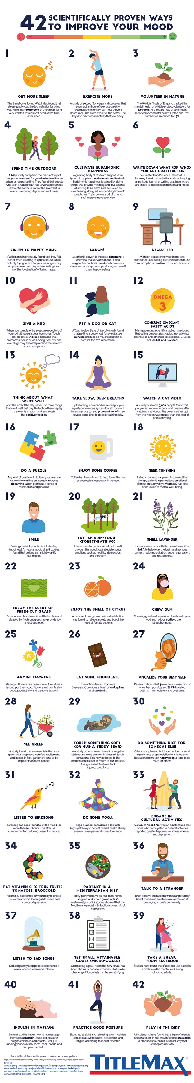 42 Scientifically Proven Ways to Improve Your Mood #infographic