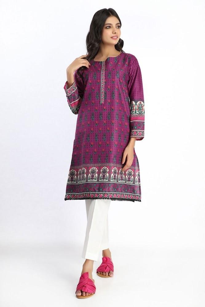 Khaadi Printed Kurta purple color