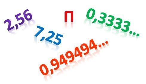 Sistema decimal. Números decimales con cero, escritos sobre fondo blanco.