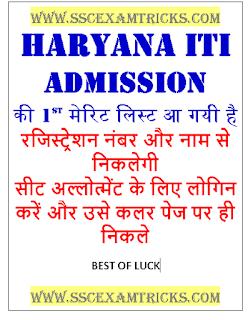 Haryana ITI Admission merit list