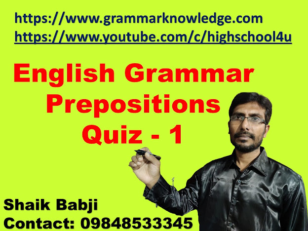 English Grammar Prepositions Quiz Practice - 1