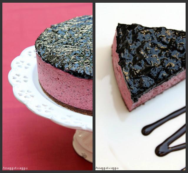 Cheesecake ai mirtilli e cioccolato