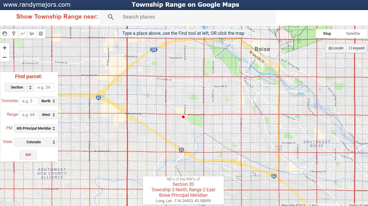 Township Range on Google Maps