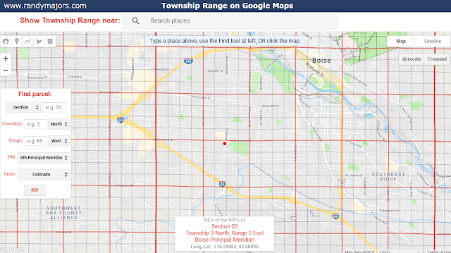 Section Township Range grid on Google Maps example