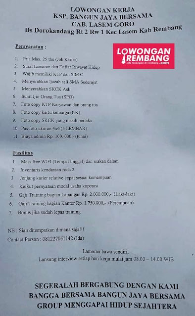Lowongan Kerja Pegawai KSP Bangun Jaya Bersama Lasem Rembang