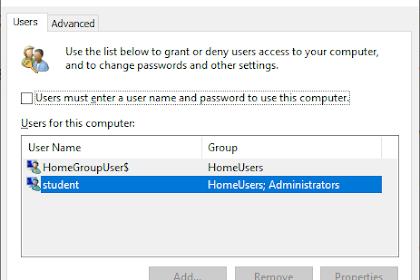 Menghapus Password Login di Windows 10
